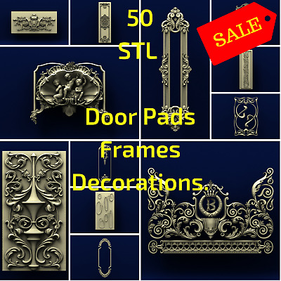 "50 ""Decor Pack"" of  3D STL Models Relief for CNC Router Aspire Artcam"