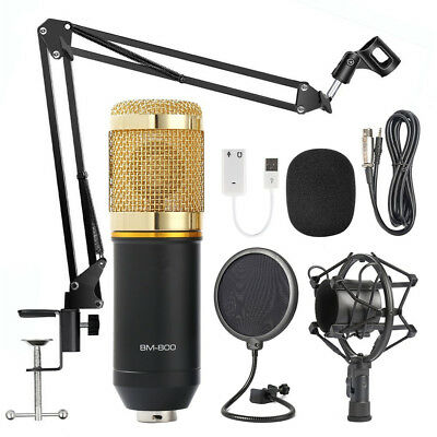 Condenser Microphone Kit Studio Suspension Boom Scissor Arm Stand W/ Pop Fliter