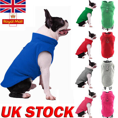UK Warm Soft Pet Dog Fleece Harness Vest Jumper Sweater Coat Small Medium Jacket