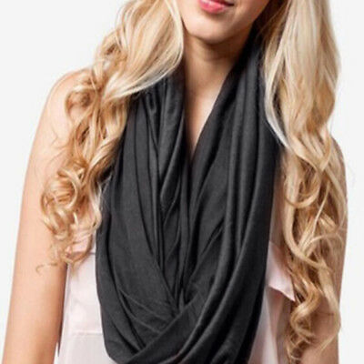 Solid Women Cotton Infinity Scarf Loop Cowl Neck Plain Wrap Shawl Circle Snood