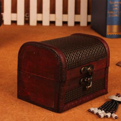 Handmade Wooden Vintage Jewelry Box Decorative Trinket Antique Storage Chest Box