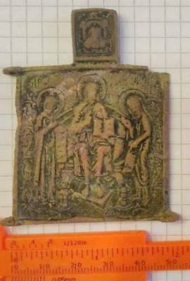 rare COLLECTION PIECE antique RUSSIAN BRASS ICON