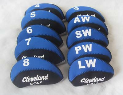 10PCS Golf Iron Headcovers for Cleveland Club Head Covers 4-LW Blue&Black