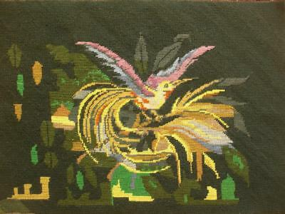 """Vintage completed wool needlepoint paradise bird tapestry  22.5""""x16"""""""