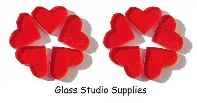 10 Pre Cut 2cm Red Transparent Hearts for Fused or Stained Glass (PCHT2)