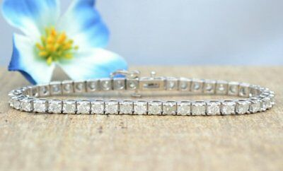 Certified 8Ct Round Vvs1 Diamond 4 Prong Tennis Bracelet In Solid 14K White Gold