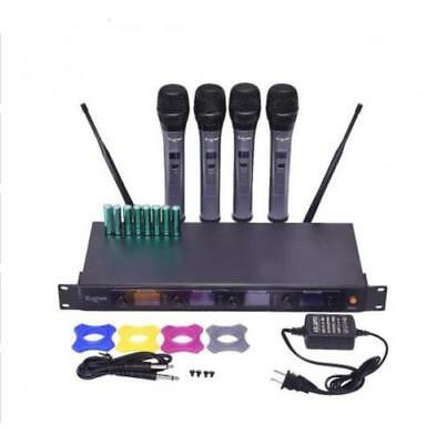 Professional 4 Channel VHF Handheld Wireless Microphone System w/ 4 Mics New