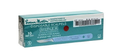 Swann-Morton Sterile Disposable Scalpels with handle - Size 10 - Pack of Ten