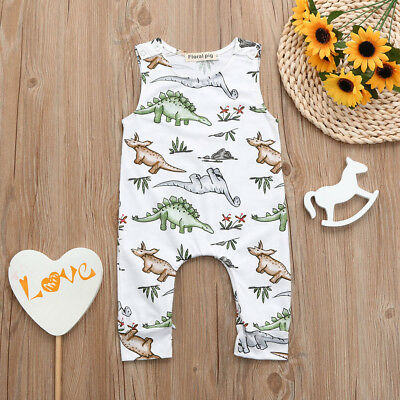 Newborn Baby Boy Girl Cartoon Dinosaur Print Romper Jumpsuit Outfits Bodysuit CO