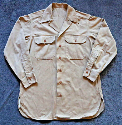 Mens Vintage L Large HEAVY Shirt Solid Cotton Long Sleeve Button Down Tan Work