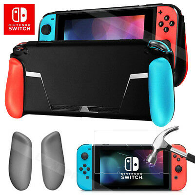 For Nintendo Switch NS Console Handle Grip TPU Case w/ Tempered Screen Protector