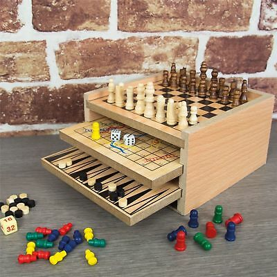 7 In 1 Wooden Game Set , Play Backgammon,draughts,chess,noughts & Vcrosses Etc..