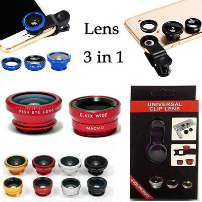 3in1 Wide Angle+Fish Eye+Macro Clip Camera Lens For Smart Cellphone Universal