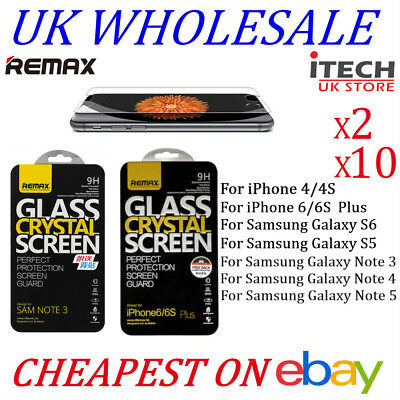 Remax Tempered Glass Screen Protector Film For iPhone & samsung With Retail Box