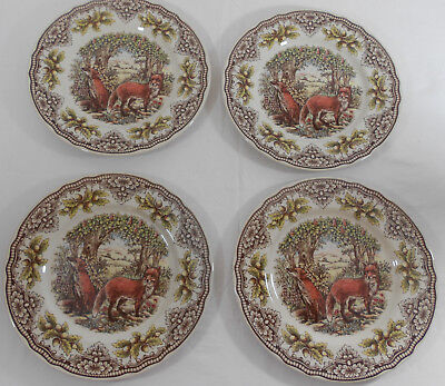 The Victorian English Pottery Fox Dinner Plates Set of 4 New Thanksgiving