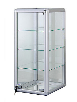 """Silver Glass Counter Top Display Case 14""""x 27"""" with Door Lock - NEW YORK PICKUP"""