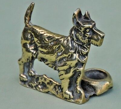 Vintage Solid Brass Smokers Pipe Rest / Stand Terrier Scotty Dog ?
