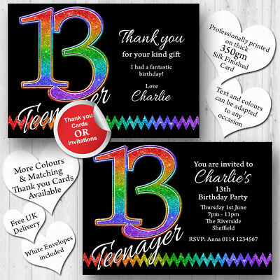 10 Personalised 13th Birthday Party Teenager Invitations Invites ANY AGE T239