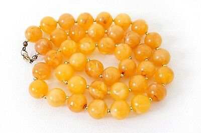 Vintage Art Deco Plastic Marbled Swirl Faux Amber Beaded Collar Necklace Choker