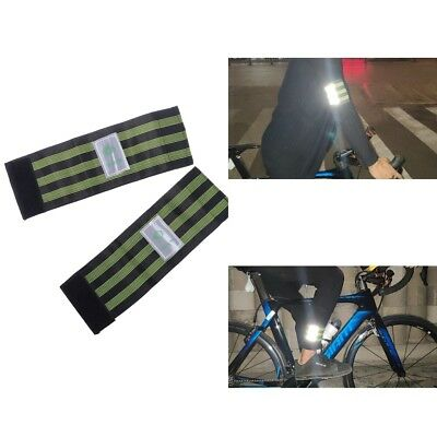 2PCS Reflective Cycling Running Trousers Pants Band Leg Strap Stripes