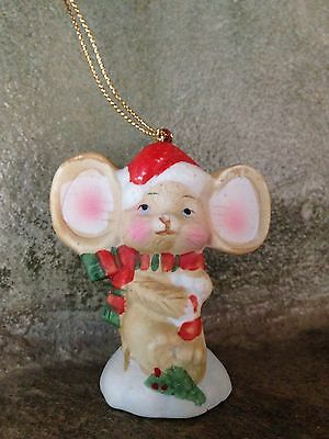 Vintage Porcelain Bisque Hand Painted Mouse In Santa Hat Christmas Ornament