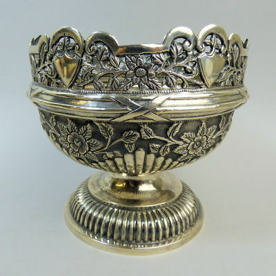 Antique Decorative Indian Silver (Tested) Rose Bowl C.1930 - 476 Grams