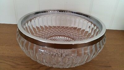 "Beautiful large cut glass crystal style bowl  9"" wide x 3.8 "" high"