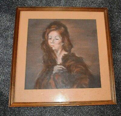 Original Portrait Painting of Young Woman in Pastels by Bessie Walford