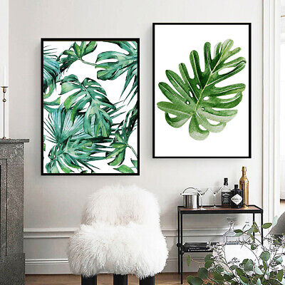 Modern Nordic Green Plant Leaf Canvas Art Poster Print Wall Picture Home Decor