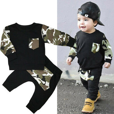 Infant Newborn Baby Boys Outfits Clothes T Shirt Tops + Camouflage Pants  Set CO