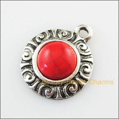 4Pcs Retro Tibetan Silver Tone Flower Red Turquoise Charms Pendants 19x23mm