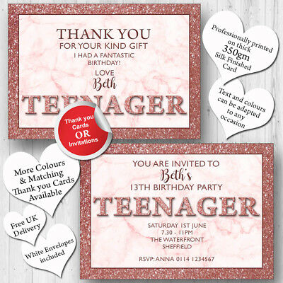 10 Personalised 13th Birthday Party Teenager Invitations Invites ANY AGE T242