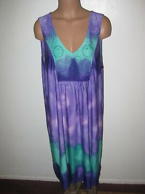 One World Women's Plus 2x Purple & Turquoise Tie Dye Sleeveless Dress w Crystals