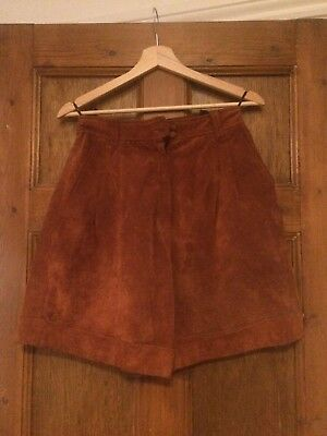 Designer giorgio mobiani High Waisted SHORTS in Tan Suede Leather VINTAGE EU 38