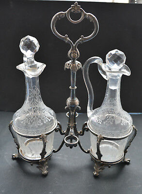 Antique Silver Plated Oil and Vinegar Set Dispenser crystal bottle 19th century