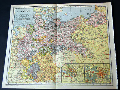 "1921 Antique ORIGINAL 11"" Germany Map Europe Baltic Sea Hamburg Bavaria"