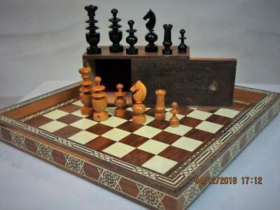 ANTIQUE FRENCH CHESS SET K 72 mm   AND ORIG BOX PLUS VINTAGE ISLAMIC  BOARD
