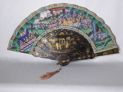 Antique Cantonese Fan 19th Century Asian China , victorian lacquer fashion