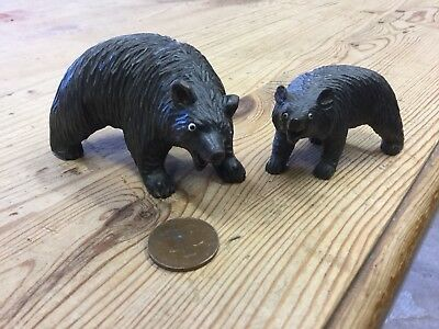 Pair Antique Wooden Carved Black Forest Bears Mother And Child Glass Eyes