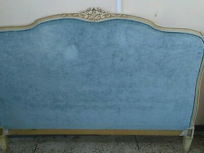 Antique French Double Corbeille Bed Frame Duck Egg Old Vintage