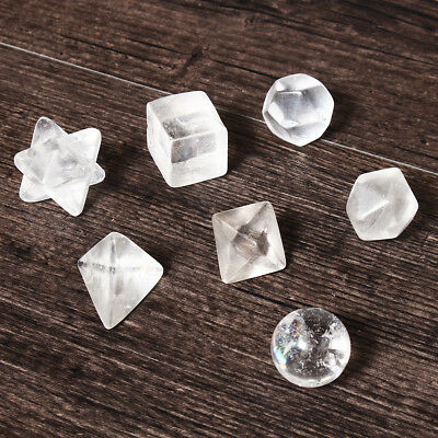 7pcs Clear Quartz Platonic Solids Sacred Geometry Geometric Set Crystal ~ GS4
