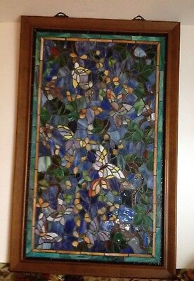 Vtg Stained Art Glass Tiffany Style Butterlies Window Panel/ Wall Hanging Art