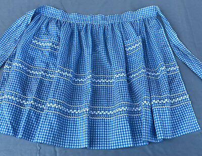 Vintage Apron 1950's Blue and White Checked with Rick Rack Trim and Embroidery