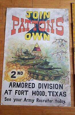 """WWII RARE Orig U.S. """"JOIN PATTONS OWN"""" POSTER by MORRIS old worldwar propaganda"""