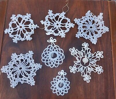 Vintage Mid Century Knitted Snowflakes Ornaments With Beaded Detail