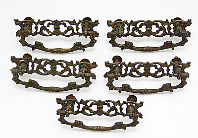 Antique Solid Cast Brass Drawer Pulls and Plates x 5