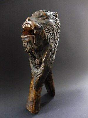 ⚠️ Antique Jugendstil Werwolf Werewolf Nussknacker Nutcracker Wooden Carving ⚠️