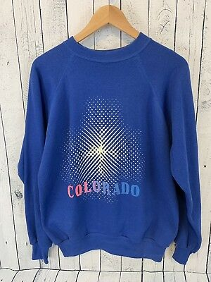 VTG 80s Velva Sheen Colorado Crew Neck Pullover 50/50 Sweatshirt Blue Size Large