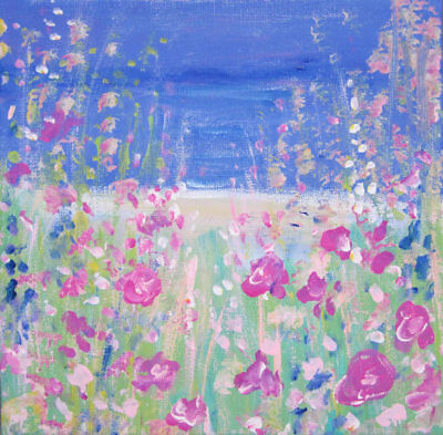 Wild Flower Meadow, Western Isles: an original painting on canvas by Jenny Hare