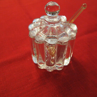 Ribbed vintage Heisey glass/Chrysolite salt cellar, mustard pot with spoon, lid